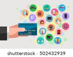 man's hand is holding a plastic ... | Shutterstock .eps vector #502432939