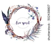 watercolor boho wreath made of...   Shutterstock . vector #502438807
