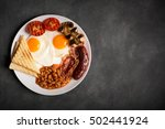 english breakfast on a black... | Shutterstock . vector #502441924