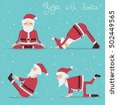 santa claus doing yoga.vector... | Shutterstock .eps vector #502449565