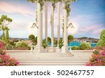 the old columns with flowers ... | Shutterstock . vector #502467757