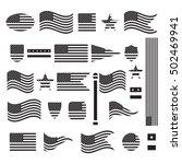 vintage usa american flag set ... | Shutterstock .eps vector #502469941