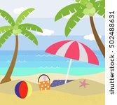 beach in summer.vector... | Shutterstock .eps vector #502488631