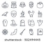 halloween icon pack oullined set