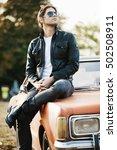 handsome male model posing in... | Shutterstock . vector #502508911