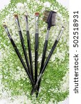 Small photo of Makeup brushes set. Alyssum. White background.