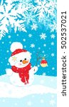 christmas picture snowman in... | Shutterstock .eps vector #502537021