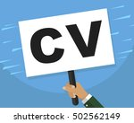 hand holding whiteboard cv for...