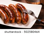close up grilled sausages with... | Shutterstock . vector #502580464
