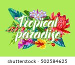print with thailand flowers.... | Shutterstock .eps vector #502584625