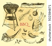 vector hand drawn barbecue and... | Shutterstock .eps vector #502584871