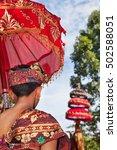 balinese man in sarong costume...   Shutterstock . vector #502588051