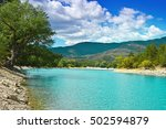 wooded shore of the lake in...   Shutterstock . vector #502594879
