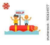 refugees in boat asking for... | Shutterstock .eps vector #502614577