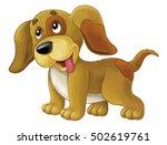 cartoon happy dog is standing... | Shutterstock . vector #502619761