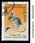 Small photo of AFGHANISTAN - CIRCA 1989: A stamp printed in Afghanistan shows Euphrates Jerboa - Allactaga euphratica, series, circa 1989