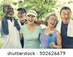 senior group friends exercise... | Shutterstock . vector #502626679