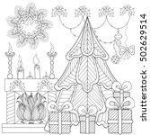 patterned christmas home... | Shutterstock .eps vector #502629514