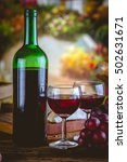 Small photo of Bottle of wine, Mediterranean concept, ambient light