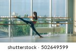 fitness woman stretching in the ... | Shutterstock . vector #502649599