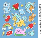 fashion cute patches  stickers... | Shutterstock .eps vector #502654429