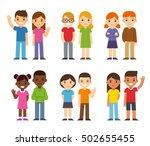 set of cute cartoon diverse... | Shutterstock . vector #502655455