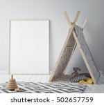 mock up poster frame in hipster ... | Shutterstock . vector #502657759