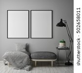 mock up poster frame in hipster ... | Shutterstock . vector #502658011