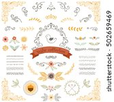 rustic fall collection. floral... | Shutterstock .eps vector #502659469