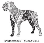 Stock vector boxer dog zentangle stylized vector illustration freehand pencil hand drawn pattern zen art 502659511