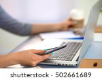 young businesswoman working on... | Shutterstock . vector #502661689