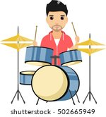 concert of young boy playing... | Shutterstock .eps vector #502665949