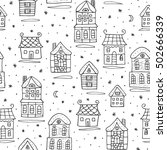 winter snowy houses seamless...   Shutterstock .eps vector #502666339