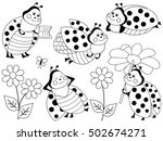 vector black and white ladybugs ... | Shutterstock .eps vector #502674271
