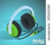 headphones icon. isometric | Shutterstock .eps vector #502692589