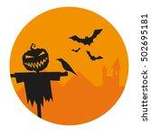 halloween vector illustration.... | Shutterstock .eps vector #502695181