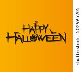 happy halloween vector text.... | Shutterstock .eps vector #502695205