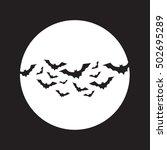 flying bats over moon vector.... | Shutterstock .eps vector #502695289