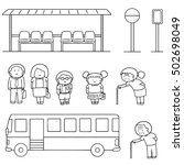 Vector Set Of Bus Stop