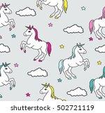 unicorns seamless pattern.... | Shutterstock .eps vector #502721119