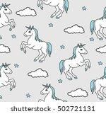 unicorns seamless pattern.... | Shutterstock .eps vector #502721131