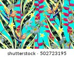 tropical flowers  jungle leaves ... | Shutterstock .eps vector #502723195