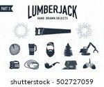 hand drawn lumberjack textured... | Shutterstock .eps vector #502727059