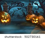 creepy halloween scene  ... | Shutterstock . vector #502730161