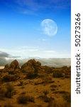 moon rising over desert... | Shutterstock . vector #50273266
