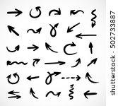 hand drawn arrows  vector set | Shutterstock .eps vector #502733887