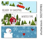 set of 3 lovely cards templates.... | Shutterstock .eps vector #502735981