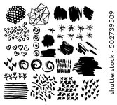 set of elements painted with a... | Shutterstock .eps vector #502739509