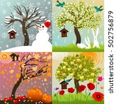 four seasons set with tree ... | Shutterstock .eps vector #502756879