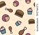 seamless pattern with donut ... | Shutterstock .eps vector #502766371